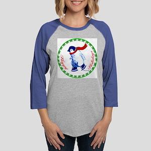 001E-Christmas-penguin Womens Baseball Tee