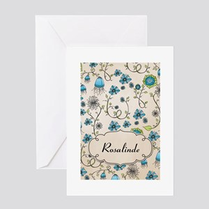 Whimsical blue flowers with name Greeting Card