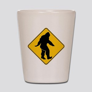 Bigfoot crossing Shot Glass