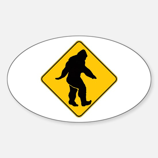 Bigfoot crossing Sticker (Oval)