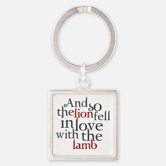 Lion fell in love with the lamb Square Keychain