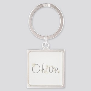 Olive Spark Square Keychain