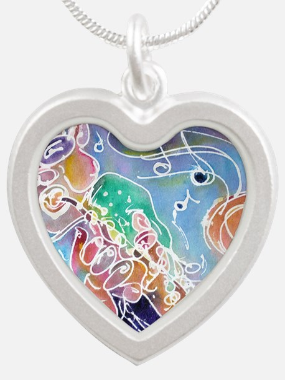Music! Fun, colorful, sax! Silver Heart Necklace