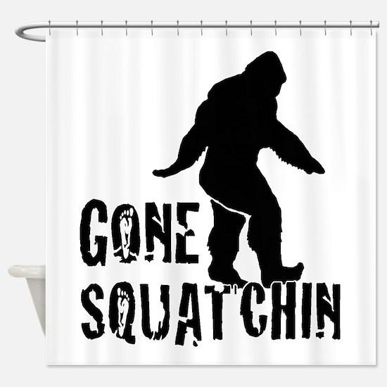 Gone Squatchin print Shower Curtain