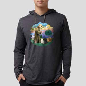 St Francis (ff) - 3 Persian cats Mens Hooded Shirt