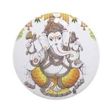 Ganesh / White Ornament (Round)