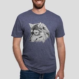 2-Wolf Face transparent 2.p Mens Tri-blend T-Shirt