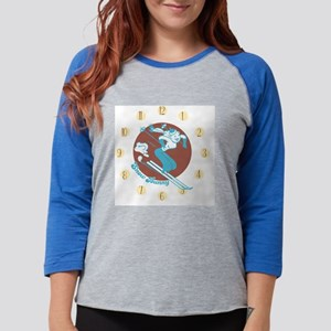snowbunny-clock Womens Baseball Tee