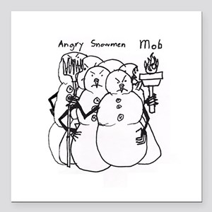 """Angry Snowmen Mob Square Car Magnet 3"""" x 3"""""""