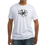 Octopus in Black Fitted T-Shirt