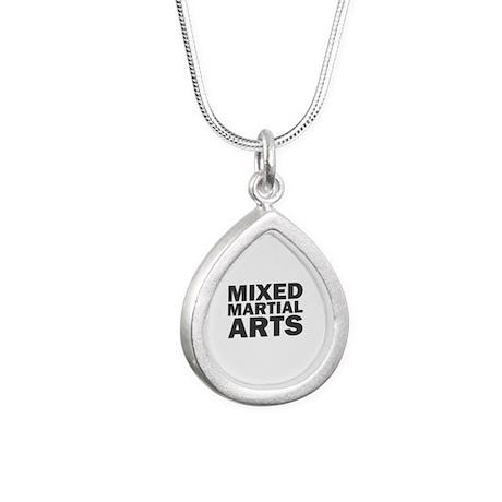 Mixed Martial Arts Silver Teardrop Necklace