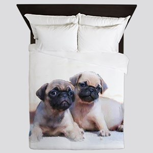 Pug Puppies Queen Duvet