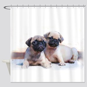 Pug Puppies Shower Curtain