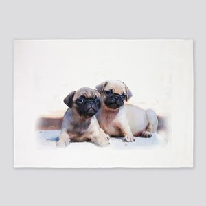 Pug Puppies 5'x7'Area Rug