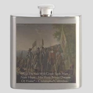 Christopher Columbus Lands Flask