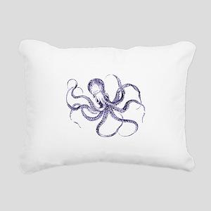 Blue Octopus Rectangular Canvas Pillow