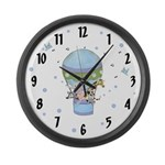 Animals in Hot Air Balloon Large Wall Clock