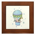 Animals in Hot Air Balloon Framed Tile
