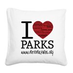 I Heart Parks Square Canvas Pillow
