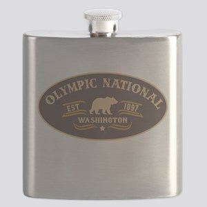 Olympic Belt Buckle Badge Flask