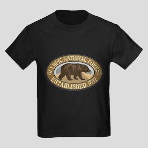 Olympic Brown Bear Badge Kids Dark T-Shirt