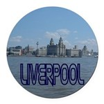 Scenic Liverpool (Blue) Round Car Magnet