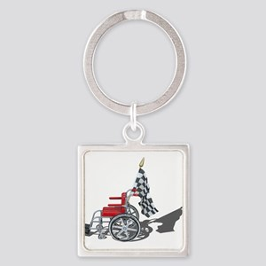 Checkered Flag and Wheelchair Keychains