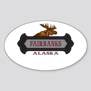 Fairbanks Fleur de Moose Sticker (Oval)