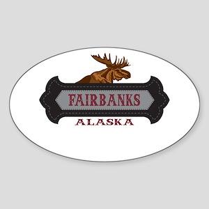 Fairbanks Fleur de Moose Sticker (Oval)