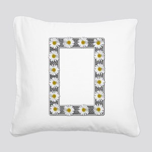 Grayscale Daisies and Burlap Photo Frame Square Ca