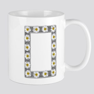 Grayscale Daisies and Burlap Photo Frame Mug