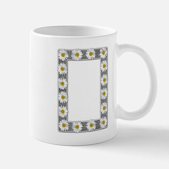 Grayscale Daisies and Burlap Photo Frame Mug