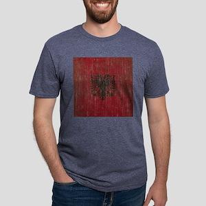 Vintage Albania Flag Mens Tri-blend T-Shirt