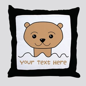 Otter with Text. Throw Pillow