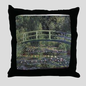 Monet Japanese Bridge Lilies Throw Pillow