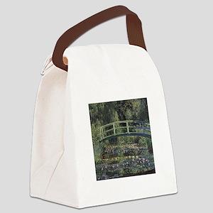 Monet Japanese Bridge Lilies Canvas Lunch Bag