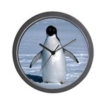 Lone Adelie with background Wall Clock