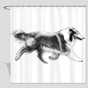 Running Collie Shower Curtain