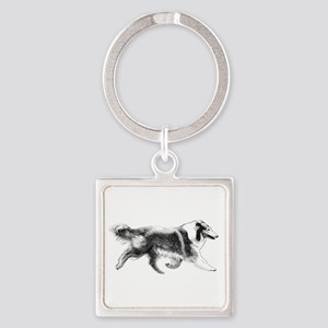 Running Collie Square Keychain