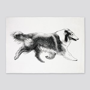 Running Collie 5'x7'Area Rug