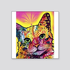 "Psychadelic Cat Square Sticker 3"" x 3"""