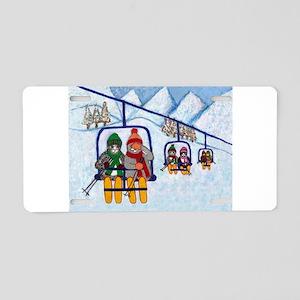 Cats Riding Ski Lift Aluminum License Plate