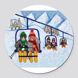 Cats Riding Ski Lift Round Car Magnet