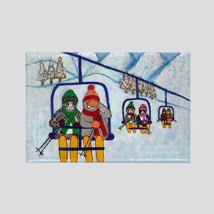 Cats Riding Ski Lift Rectangle Magnet (10 pack)