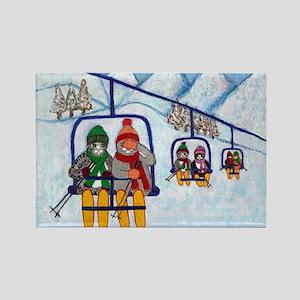 Cats Riding Ski Lift Rectangle Magnet (10 pack)