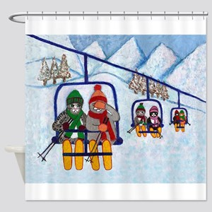 Cats Riding Ski Lift Shower Curtain