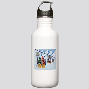 Cats Riding Ski Lift Stainless Water Bottle 1.0L