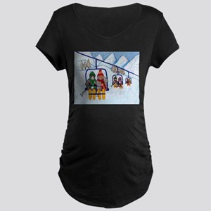 Cats Riding Ski Lift Maternity Dark T-Shirt