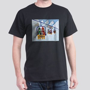 Cats Riding Ski Lift Dark T-Shirt