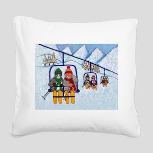 Cats Riding Ski Lift Square Canvas Pillow